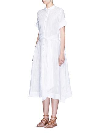 正面 -点击放大 - LISA MARIE FERNANDEZ - 竖纹棉混亚麻衬衫款连衣裙