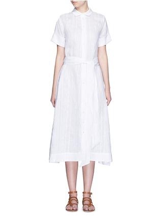 首图 - 点击放大 - LISA MARIE FERNANDEZ - 竖纹棉混亚麻衬衫款连衣裙