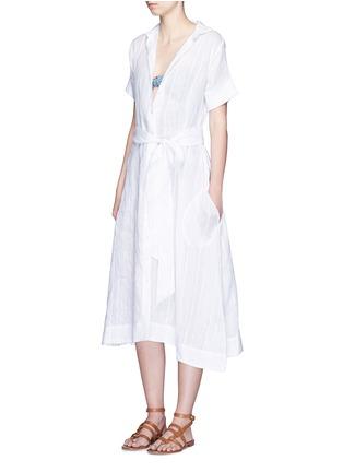 模特儿示范图 - 点击放大 - LISA MARIE FERNANDEZ - 竖纹棉混亚麻衬衫款连衣裙