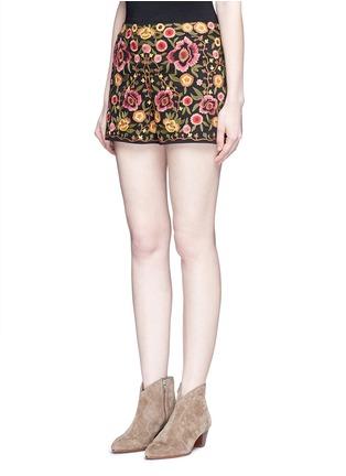 正面 - 点击放大 - ALICE + OLIVIA - 花卉刺绣棉质短裤