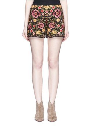 首图 - 点击放大 - ALICE + OLIVIA - 花卉刺绣棉质短裤