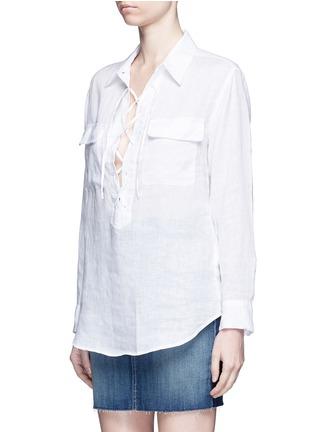 正面 -点击放大 - EQUIPMENT - Knox孔眼系带开襟亚麻衬衫