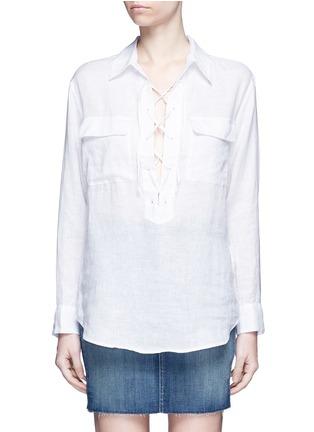首图 - 点击放大 - EQUIPMENT - Knox孔眼系带开襟亚麻衬衫