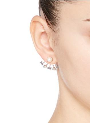 模特示范图 - 点击放大 - JOOMI LIM - Lady Rebel扇形珠饰垂坠耳环