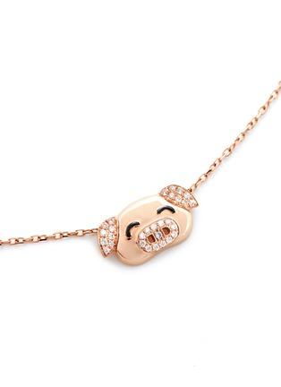 模特儿示范图 - 点击放大 - BAO BAO WAN - 18K玫瑰金钻石小猪项链