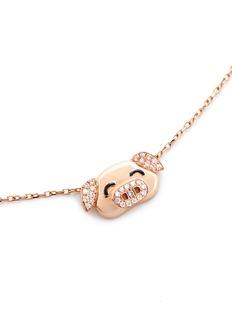 BAO BAO WAN 18K玫瑰金钻石小猪项链