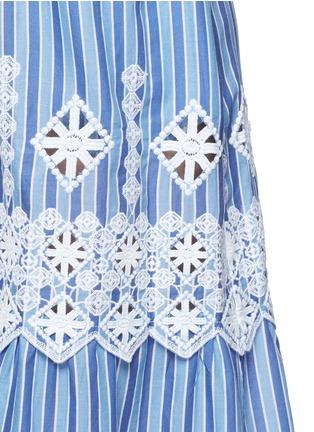 细节 - 点击放大 - MIGUELINA - 刺绣镂空装饰条纹纯棉半身裙