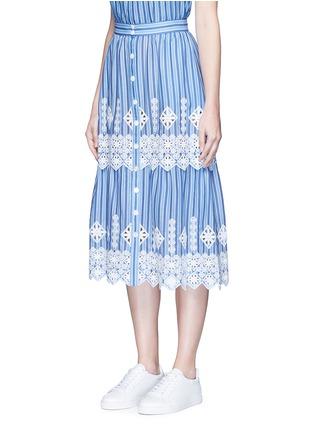 正面 -点击放大 - MIGUELINA - 刺绣镂空装饰条纹纯棉半身裙