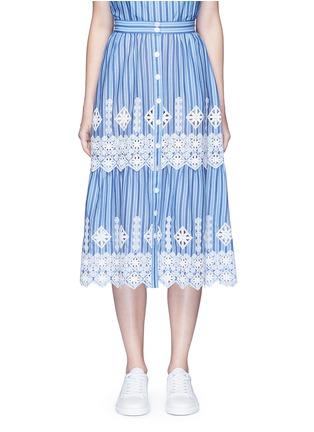 首图 - 点击放大 - MIGUELINA - 刺绣镂空装饰条纹纯棉半身裙