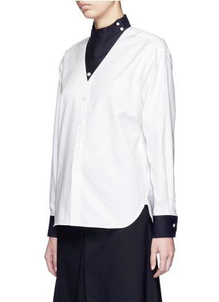 正面 -点击放大 - HYKE - 仿领巾立领纯棉衬衫