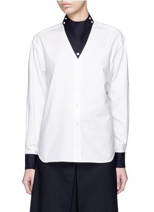首图 - 点击放大 - HYKE - 仿领巾立领纯棉衬衫