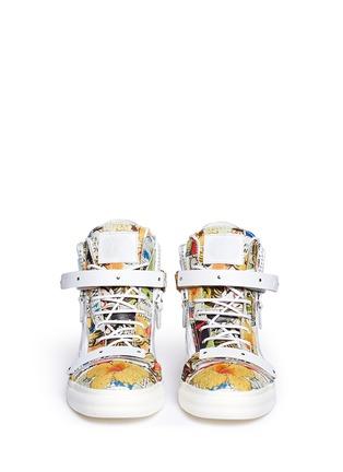 模特儿示范图 - 点击放大 - 73426 - London卡通画真皮高筒运动鞋