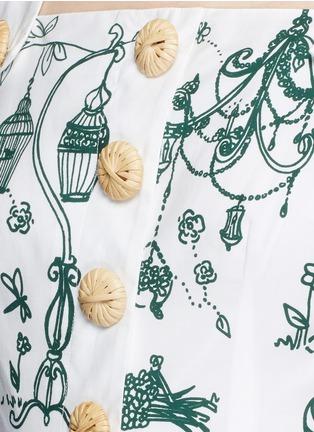 细节 - 点击放大 - DOLCE & GABBANA - 花园印花纯棉连衣裙