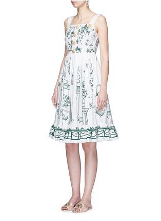 模特儿示范图 - 点击放大 - DOLCE & GABBANA - 花园印花纯棉连衣裙