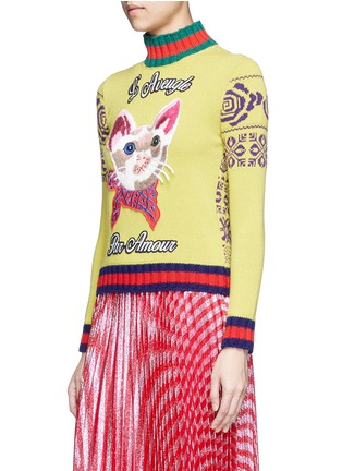 正面 -点击放大 - GUCCI - 猫脸刺绣拼贴拼色羊毛针织衫