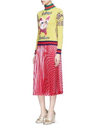 模特儿示范图 - 点击放大 - GUCCI - 猫脸刺绣拼贴拼色羊毛针织衫