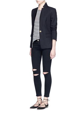 模特儿示范图 - 点击放大 - J BRAND - PHOTO READY ANKLE SKINNY破洞修身牛仔裤