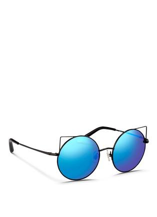 模特儿示范图 - 点击放大 - MATTHEW WILLIAMSON - 金属圆框反光镜片太阳眼镜