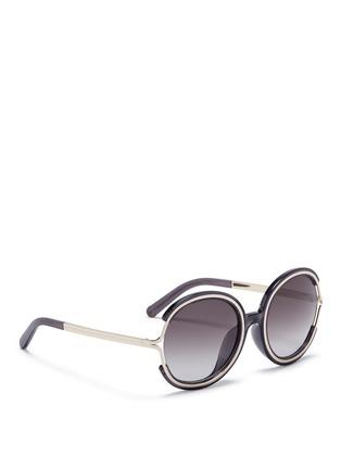 模特儿示范图 - 点击放大 - CHLOÉ - JAYME金属拼树脂圆框太阳眼镜