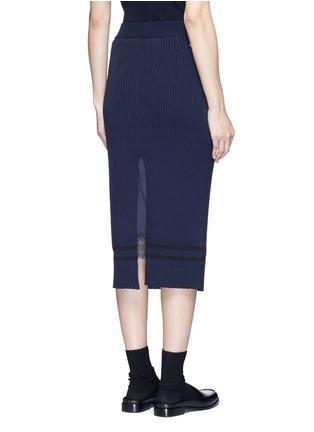 背面 - 点击放大 - MUVEIL - 背衩条纹针织半身裙