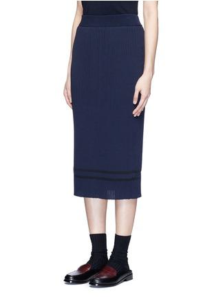 正面 -点击放大 - MUVEIL - 背衩条纹针织半身裙