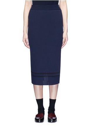 首图 - 点击放大 - MUVEIL - 背衩条纹针织半身裙