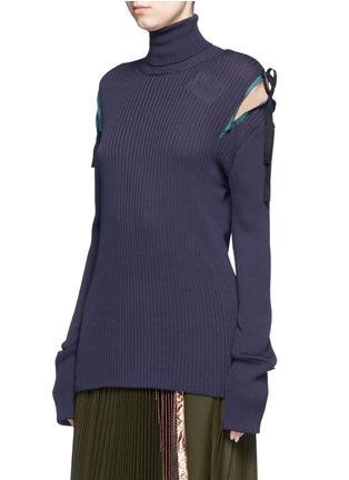 正面 - 点击放大 - MUVEIL - 拼色蝴蝶结高领针织衫