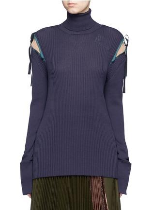 首图 - 点击放大 - MUVEIL - 拼色蝴蝶结高领针织衫