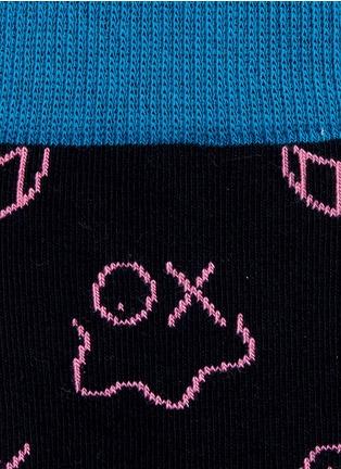 细节 - 点击放大 - Happy Socks - 笑脸图案拼色混棉袜子