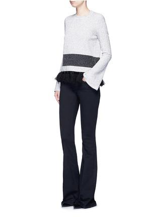 模特儿示范图 - 点击放大 - PROENZA SCHOULER - 混色穗饰花呢针织衫