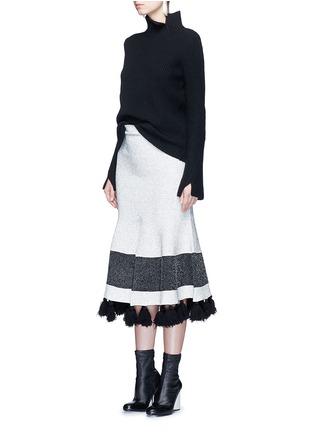 模特儿示范图 - 点击放大 - PROENZA SCHOULER - 混色穗饰花呢半身裙