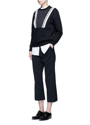 模特儿示范图 - 点击放大 - NEIL BARRETT - 菱格缝线条纹拼贴卫衣