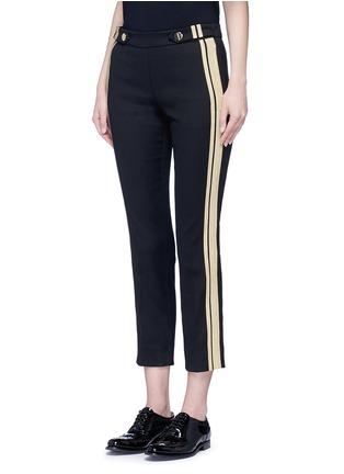 正面 - 点击放大 - NEIL BARRETT - 条纹拼贴棉质七分裤
