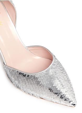 细节 - 点击放大 - KATE SPADE - Portia银色亮片侧空高跟鞋