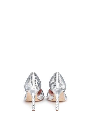 背面 - 点击放大 - KATE SPADE - Portia银色亮片侧空高跟鞋