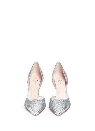 正面 - 点击放大 - KATE SPADE - Portia银色亮片侧空高跟鞋