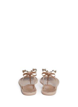 背面 - 点击放大 - KATE SPADE - 蝴蝶结仿水晶果冻夹脚平底凉鞋