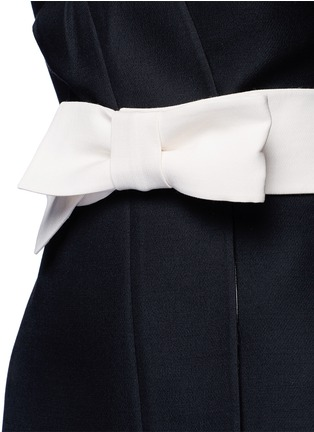细节 - 点击放大 - Valentino - 蝴蝶结腰带羊毛混丝和服式连衣裙