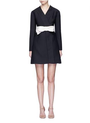 首图 - 点击放大 - Valentino - 蝴蝶结腰带羊毛混丝和服式连衣裙