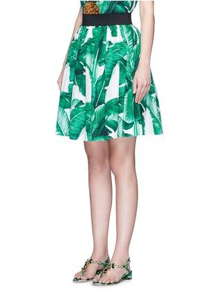 正面 - 点击放大 - DOLCE & GABBANA - 香蕉叶印花纯棉半身裙