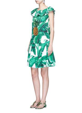 模特示范图 - 点击放大 - DOLCE & GABBANA - 香蕉叶印花纯棉半身裙