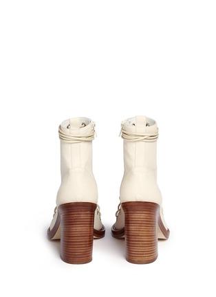背面 - 点击放大 - ANN DEMEULEMEESTER SHOES - 镂空系带真皮粗跟踝靴