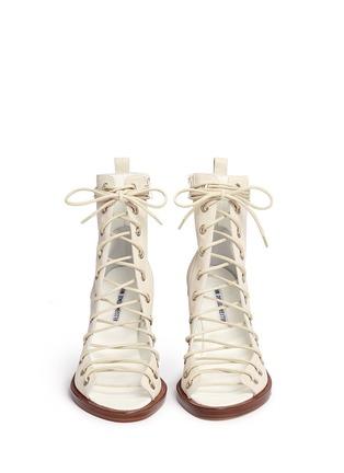 正面 -点击放大 - ANN DEMEULEMEESTER SHOES - 镂空系带真皮粗跟踝靴