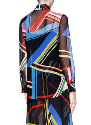 背面 - 点击放大 - PREEN BY THORNTON BREGAZZI - 几何线条透视真丝衬衫