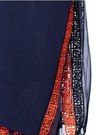 细节 - 点击放大 - SACAI - 撞色百褶拼接羊毛针织衫