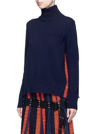 正面 - 点击放大 - SACAI - 撞色百褶拼接羊毛针织衫