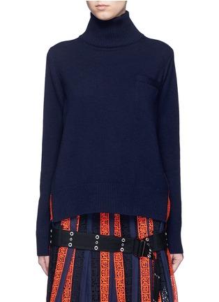 首图 - 点击放大 - SACAI - 撞色百褶拼接羊毛针织衫