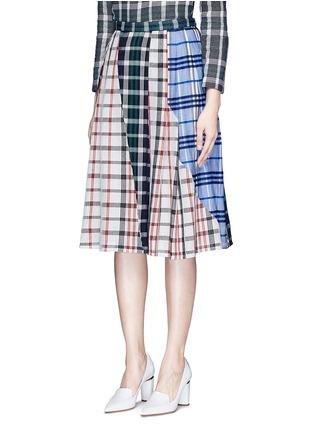 正面 -点击放大 - RHIÉ - 格纹拼接褶裥半身裙