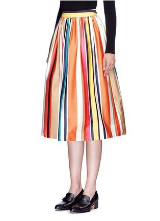 正面 -点击放大 - ALICE + OLIVIA - NIKOLA彩色条纹褶裥半身裙