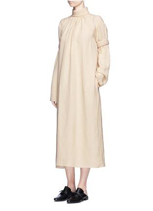 模特示范图 - 点击放大 - MS MIN - 立体条纹混亚麻连衣裙
